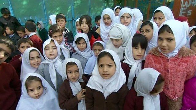 Girls attend school in Kabul