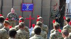 Soldiers from the Alpha Grenadier Company (The Black Watch), 3rd Scots Battalion attend a Remembrance Day Service at Patrol Base Kalang at Nad e Ali in Afghanistan