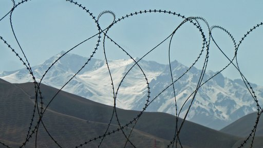 Mountains behind barbed wire in Afghanistan