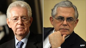 Mario Monti and Lucas Papademos