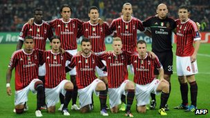 AC Milan Players pose before their Champions League football match between AC Milan and Bate Borisov on October 19, 2011