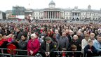 Crowds at Trafalgar Square observing 2-minute silence