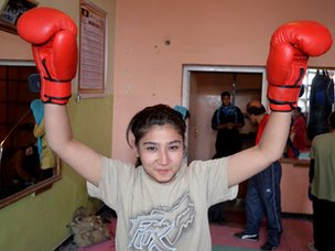 Girl boxer in Kabul
