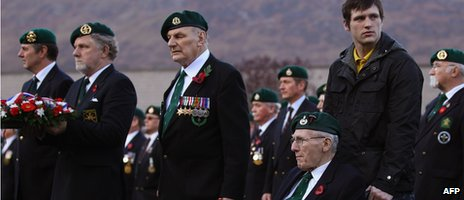 Former UK servicemen at a remembrance ceremony on 13 November 13.