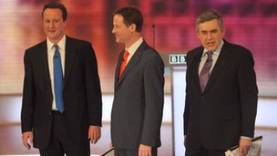 David Cameron, Nick Clegg and Gordon Brown in the last of 2010's prime ministerial debates