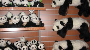 Panda soft toys at Edinburgh Zoo gift shop