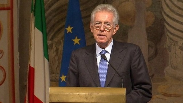 Italy's newly appointed PM Mario Monti