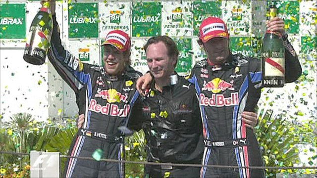 Sebastian Vettel, Christain Horner and Mark Webber celebrate