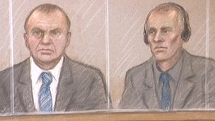 Court artist&#039;s sketch of Gary Dobson and David Norris 