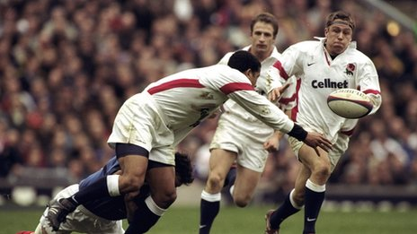 Jeremy Guscott (left) and Jonny Wilkinson (right)