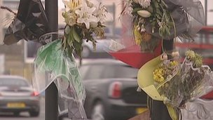 Floral tributes to Brian Dorling, a cyclist killed on the Bow Roundabout in east London