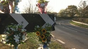 Floral tributes at Moor Lane