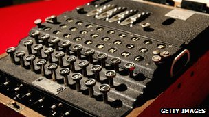 An Enigma coding machine that was used by the Germans in WWII