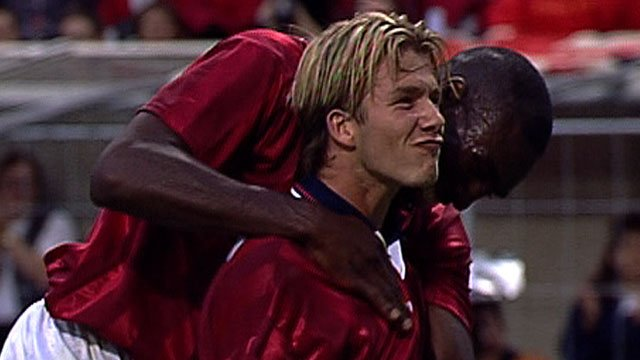 David Beckham celebrates his first international goal at the 1998 World Cup
