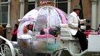 Bride fixes her veil