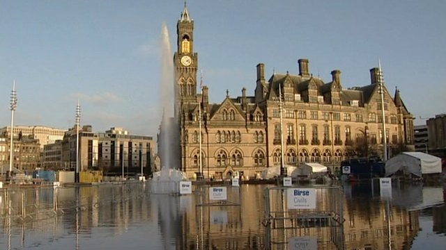 Urban water fountain in Bradford being tested