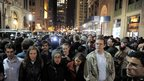 People link arms a few blocks from Zuccotti Park as New York City officials they clear the &quot;Occupy Wall Street&quot; protest from Zuccotti Park.