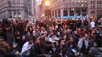 Occupy Wall Street protesters regroup in Foley Square after New York City police on 15 November 2011