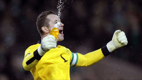 Republic keeper Shay Given celebrates after the final whistle in Dublin