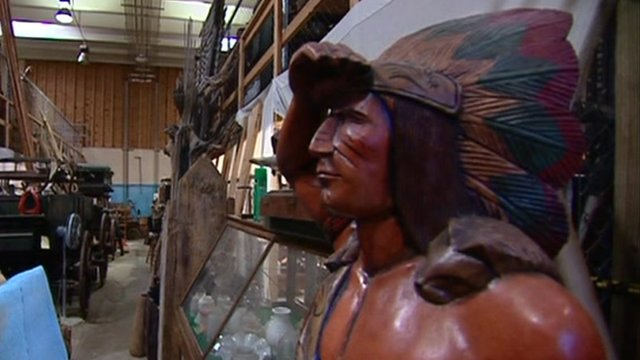 Wooden Native American in storage