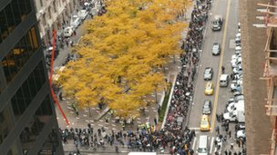 View from Liberty Tower, Zuccotti Park of protesters on Tuesday 15 November. Photo: Alex Holehouse