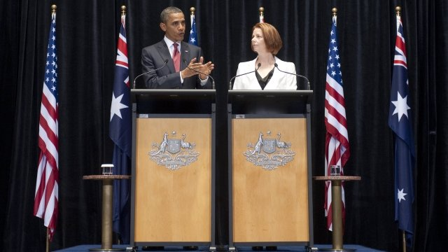 Barack Obama and Julia Gillard at a joint news conference
