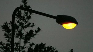 A street light at twilight