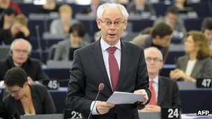 EU Council President Herman Van Rompuy in European Parliament, 16 Nov 11