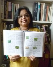 Prof Anvita Abbi with her dictionary