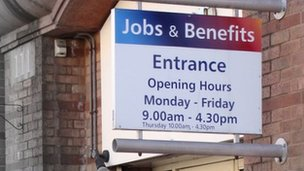Jobs and benefits office sign