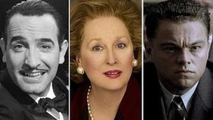 Jean Dujardin in The Artist, Meryl Streep in The Iron Lady and Leonardo DiCaprio in J Edgar
