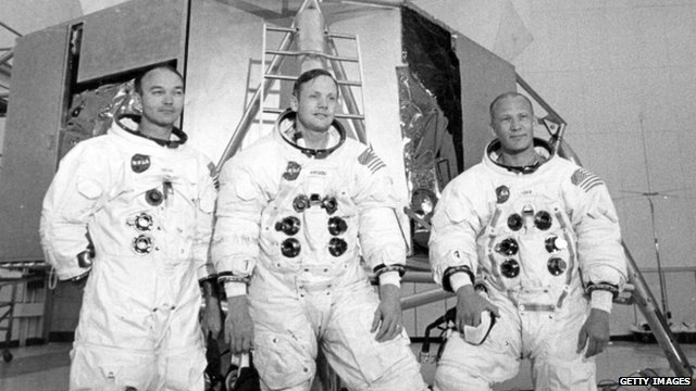 "Apollo 11 astronauts Mike Collins (left), Neil Armstrong (centre), and Edwin ""Buzz"" Aldrin (R) in 1969"