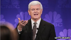 Newt Gingrich at a debate in Michigan on 9 November 2011