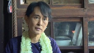 Aung San Suu Kyi gives an interview to the BBC