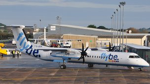 Flybe plane at Guernsey Airport