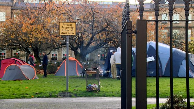 Anti-capitalism camp in Blythswood Square, Glasgow