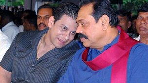 Duminda Silva (left) with President Rajapaksa