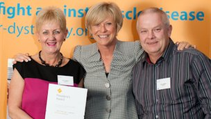 Lynn and Paul Leadbitter with Sue Barker (centre) - image from Muscular Dystrophy Campaign
