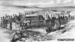 A British ambulance collects the wounded at Sevastopol during the Crimean War, circa 1855.