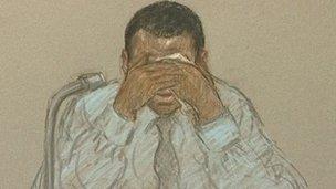 Court artist's sketch of Duwayne Brooks