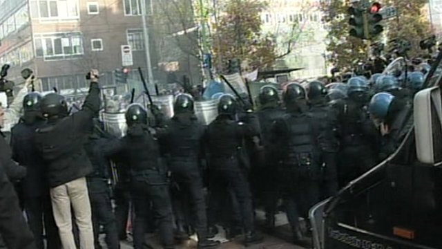 Row of riot police in Milan