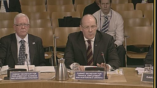 Finance Secretary John Swinney and Parliamentary Business and Government Strategy Secretary Bruce Crawford give evidence to the Scotland Bill Committee