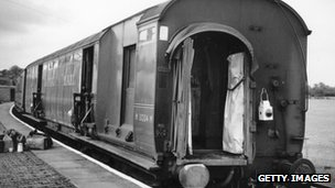 The uncoupled train coaches at Cheddington Station after the Great Train Robbery in 1963