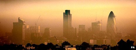 London skyline shrouded in mist/pollution
