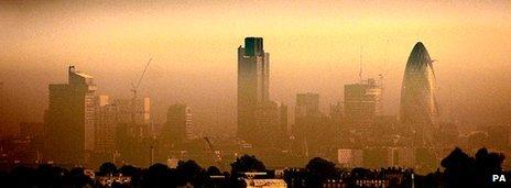 London skyline shrouded in mist/pollution