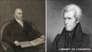 John Quincy Adams, left, and Andrew Jackson, right, portraits courtesy of the Library of Congress