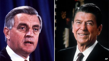 Composite of Walter Mondale, left, and Ronald Reagan, right