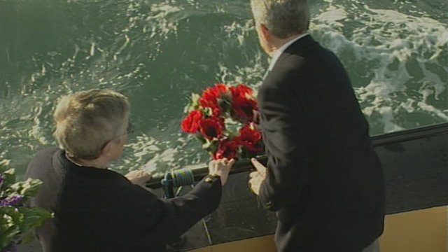 A wreath being laid on the Solent