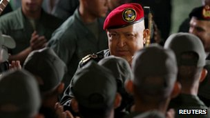 President Hugo Chavez talks to soldiers at Venezuela's military academy, 26 October 2011