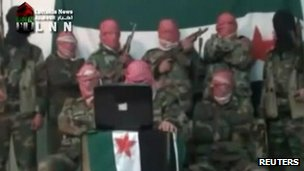 Amateur video still said to be of Free Syrian Army troops (16 Nov 2011)